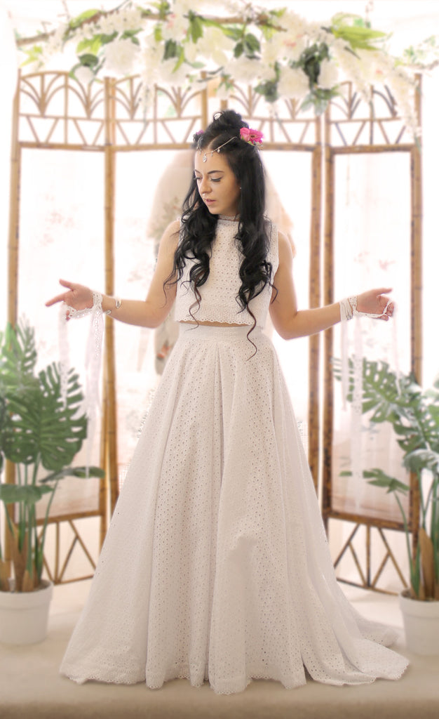 broderie anglaise white cotton two piece boho wedding dress by alexandra king