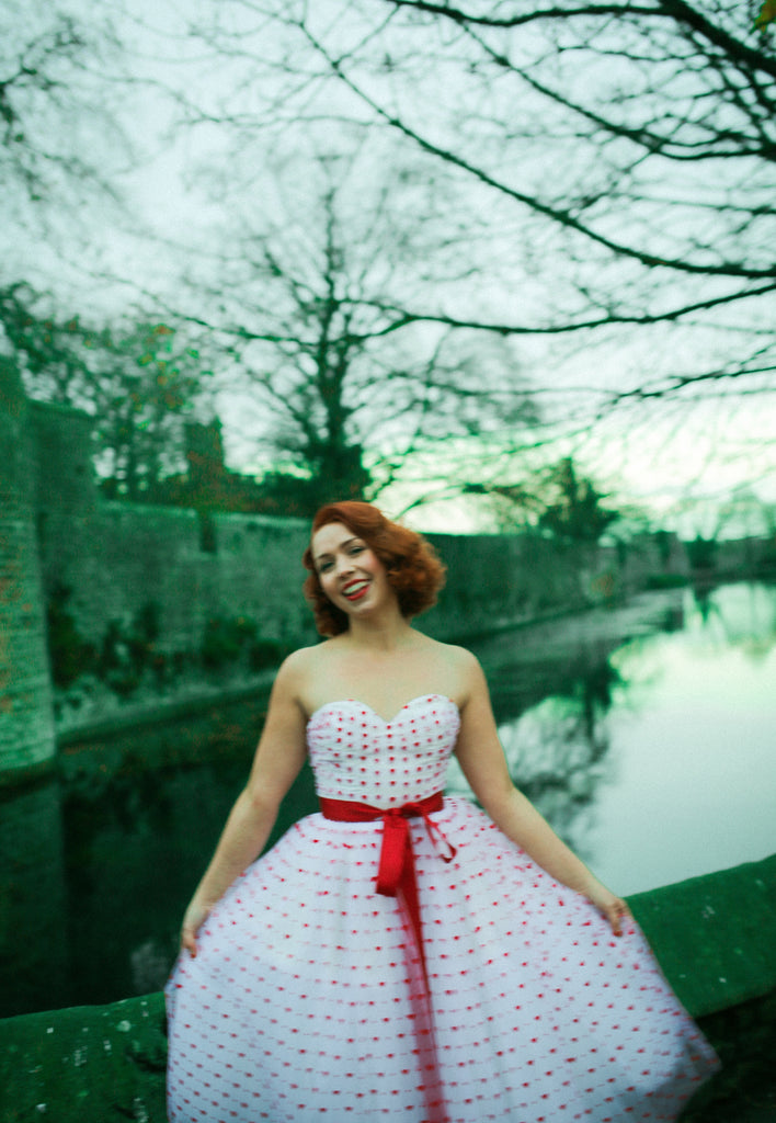 red sweet heart tulle fifties style prom dress by alexandra king