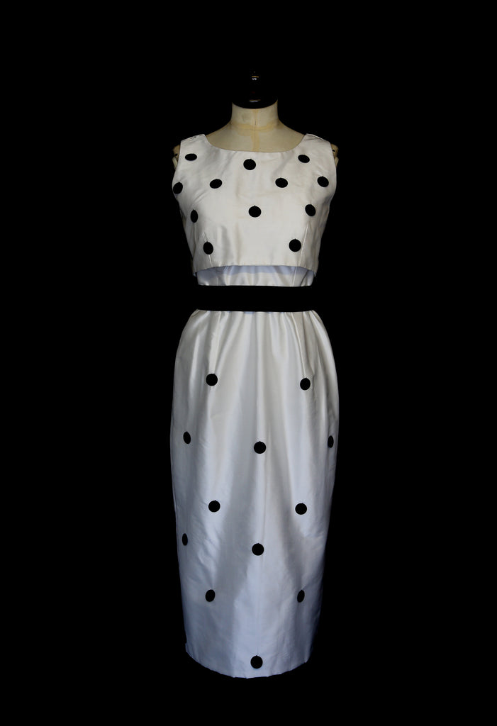 alexandra king polkadot silk wiggle dress