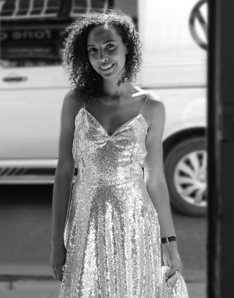silver sequin wedding dress by alexandra king