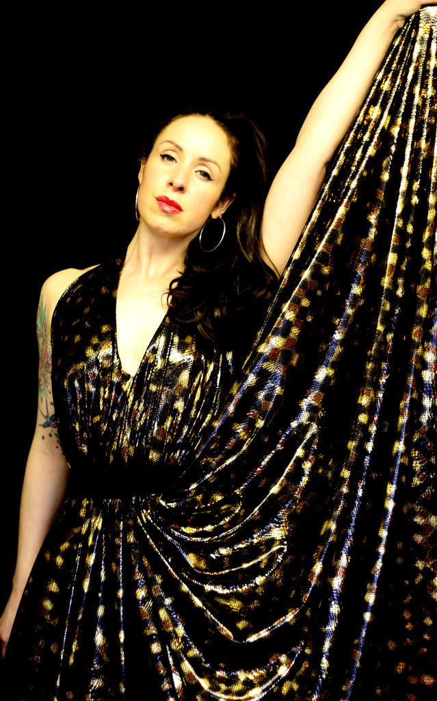 python dress gold by alexandra king