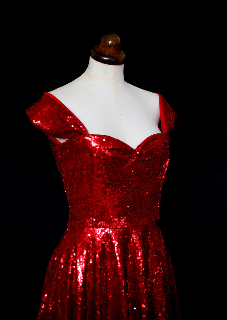 red sequin 1950s style dress alexandra king deadly is the female