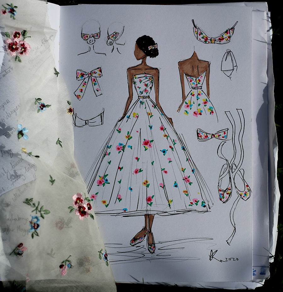 alexandra king country rose dress sketch