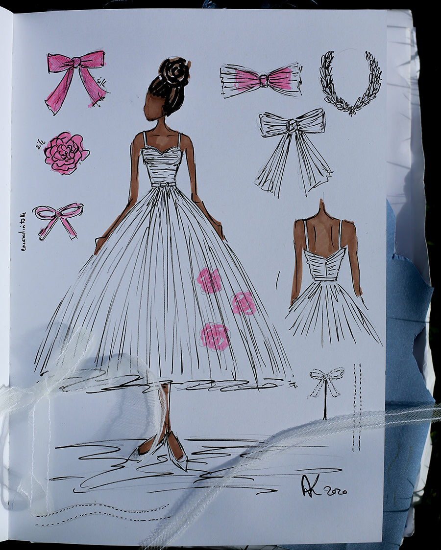alexandra king ballet rose dress sketch