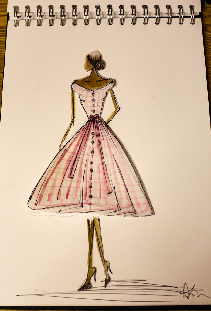 alexandra king dress sketch gingham