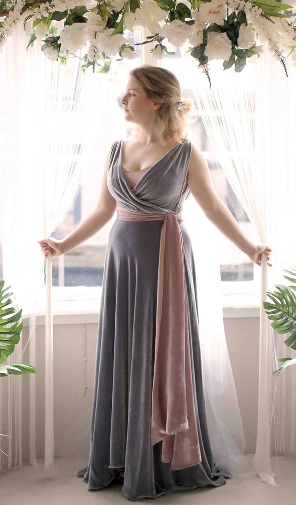 silk velvet bias cut gown by alexandra king