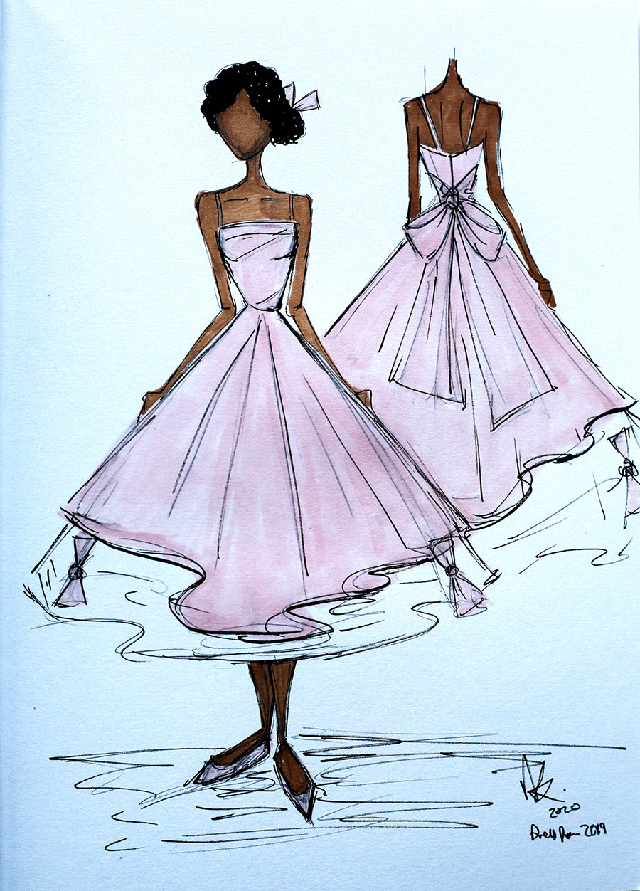 sketch of peony dress alexandra king