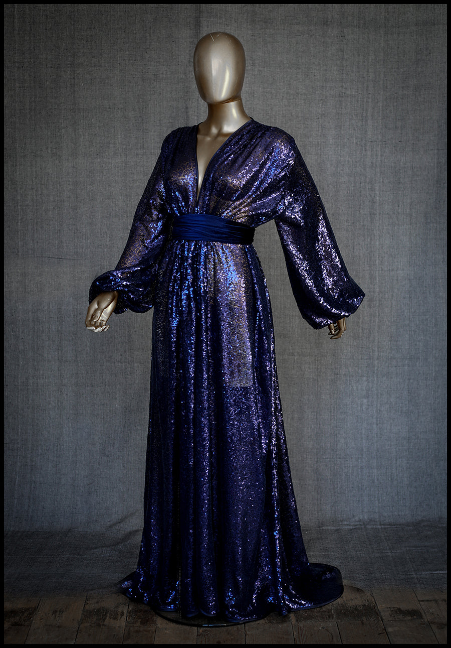 alexandra king for deadly is the female blue sequin gown