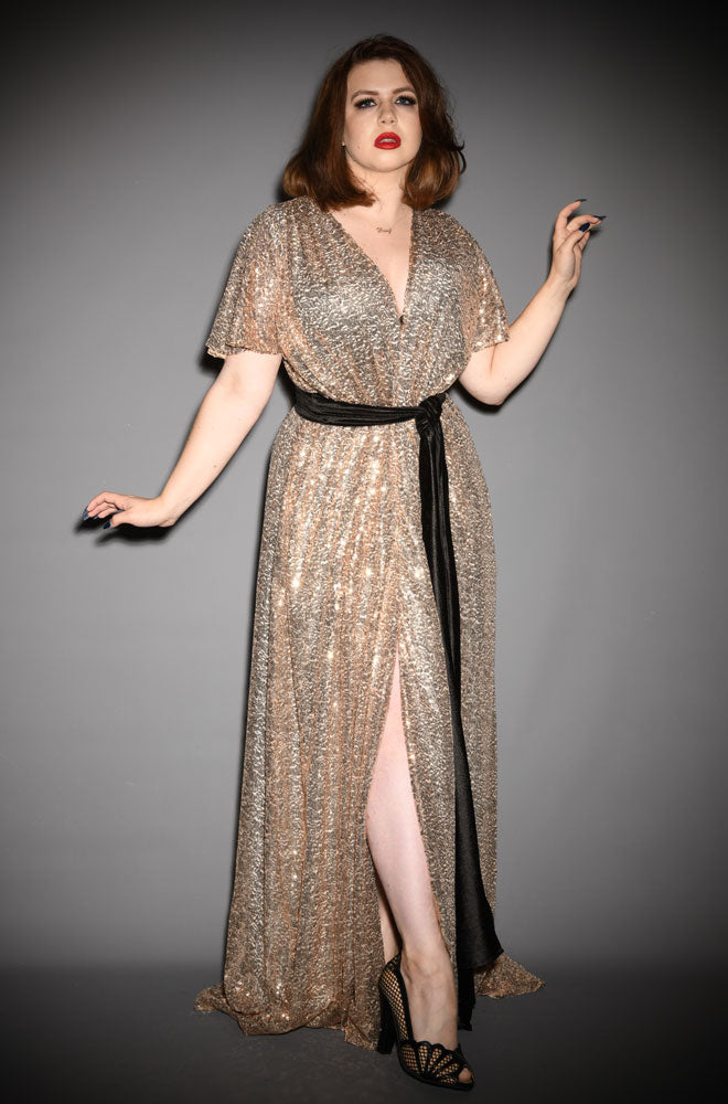 alexandra king for deadly claudia dress gold sequin gown