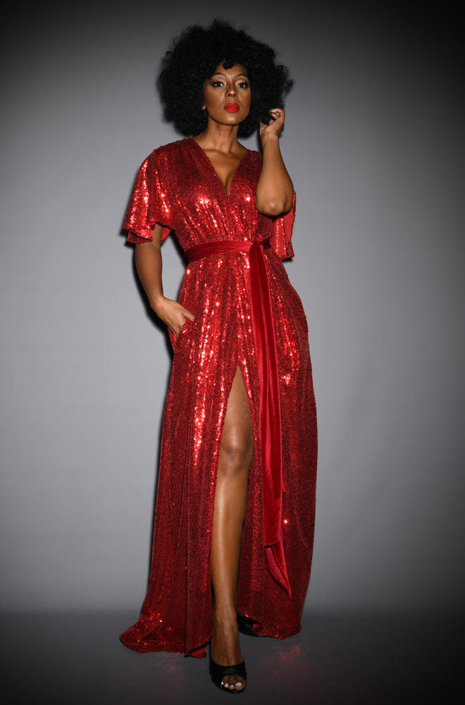 alexandra king for deadly claudia dress  red sequin gown