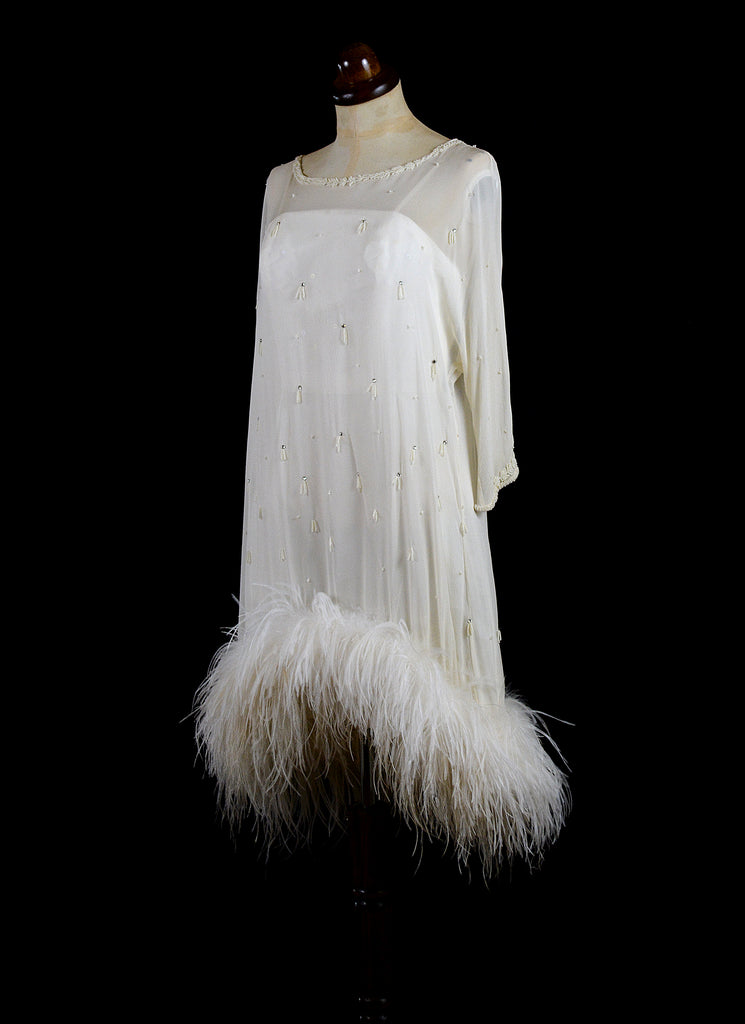 alexandra king 1920s ostrich wedding dress