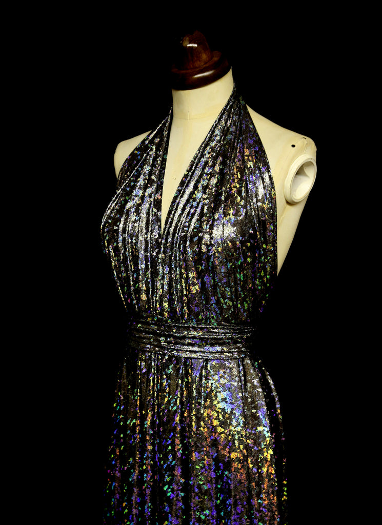 holographic studio 54 inspired halter dress alexandra king