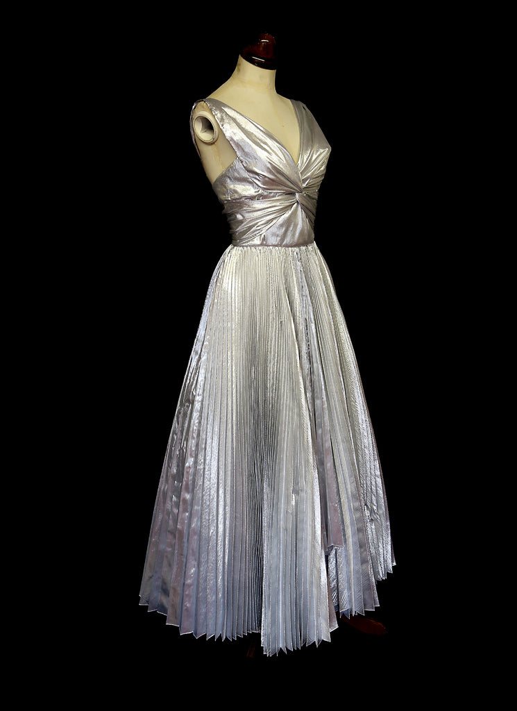alexandra king silver pleat dress