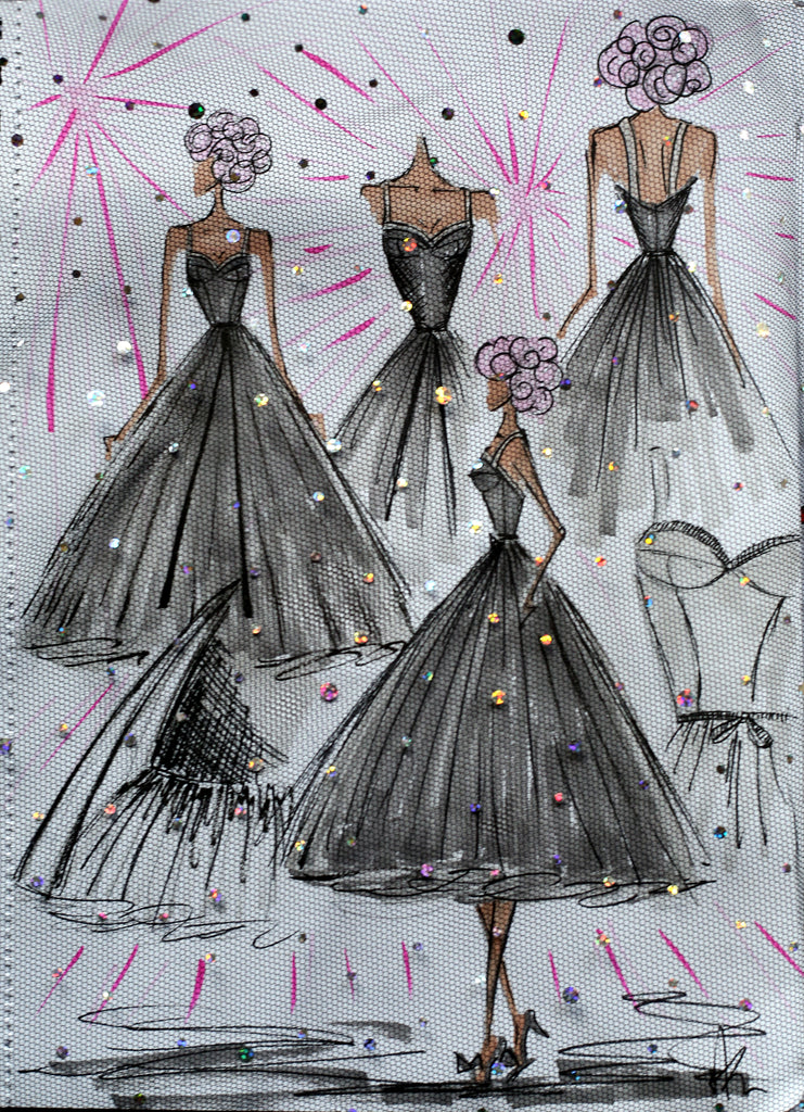 glitter tulle dress sketch