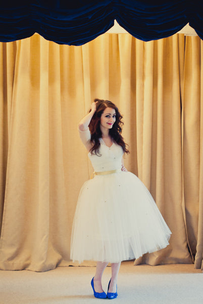 Louisa - Beaded Ivory Tulle Tea Length Wedding Gown