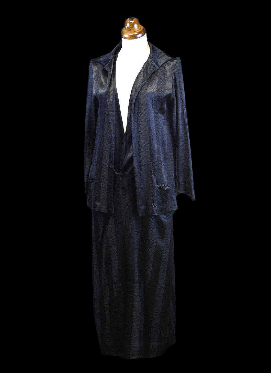 Vintage 1920s Black Crepe Satin Dress