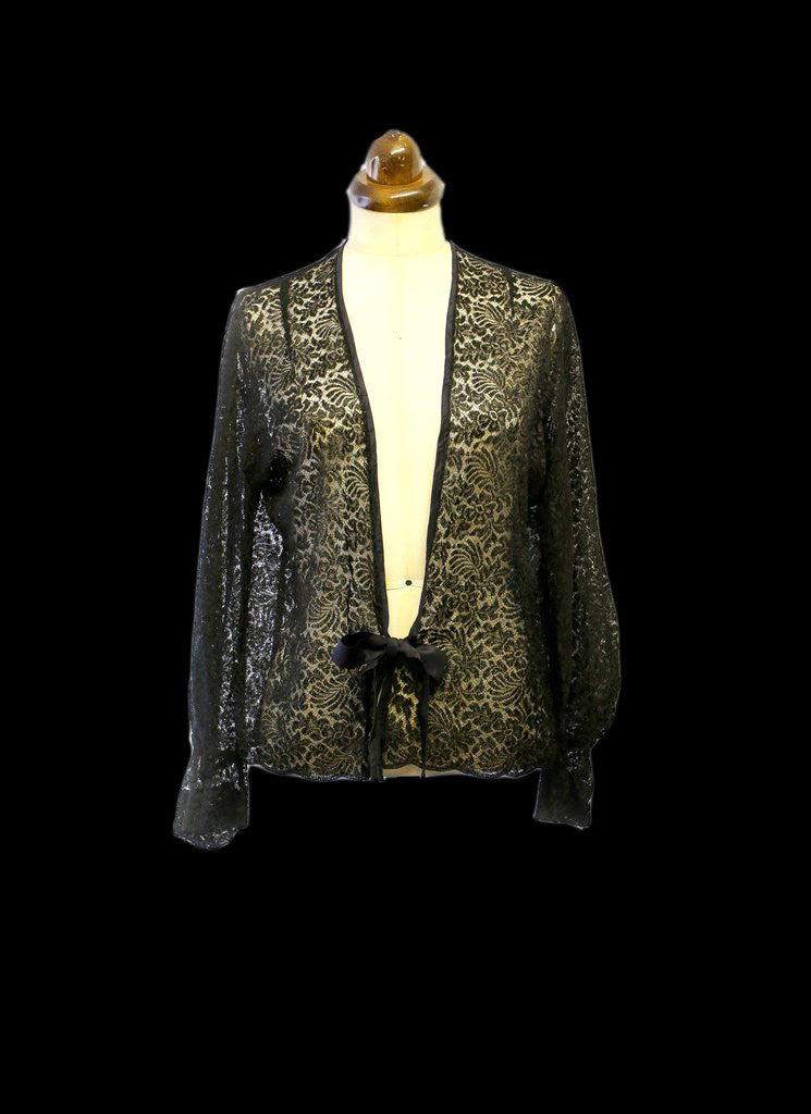 Vintage 1930s Black Lace Jacket