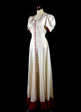Vintage 1930s Red and Ivory Bias Gown