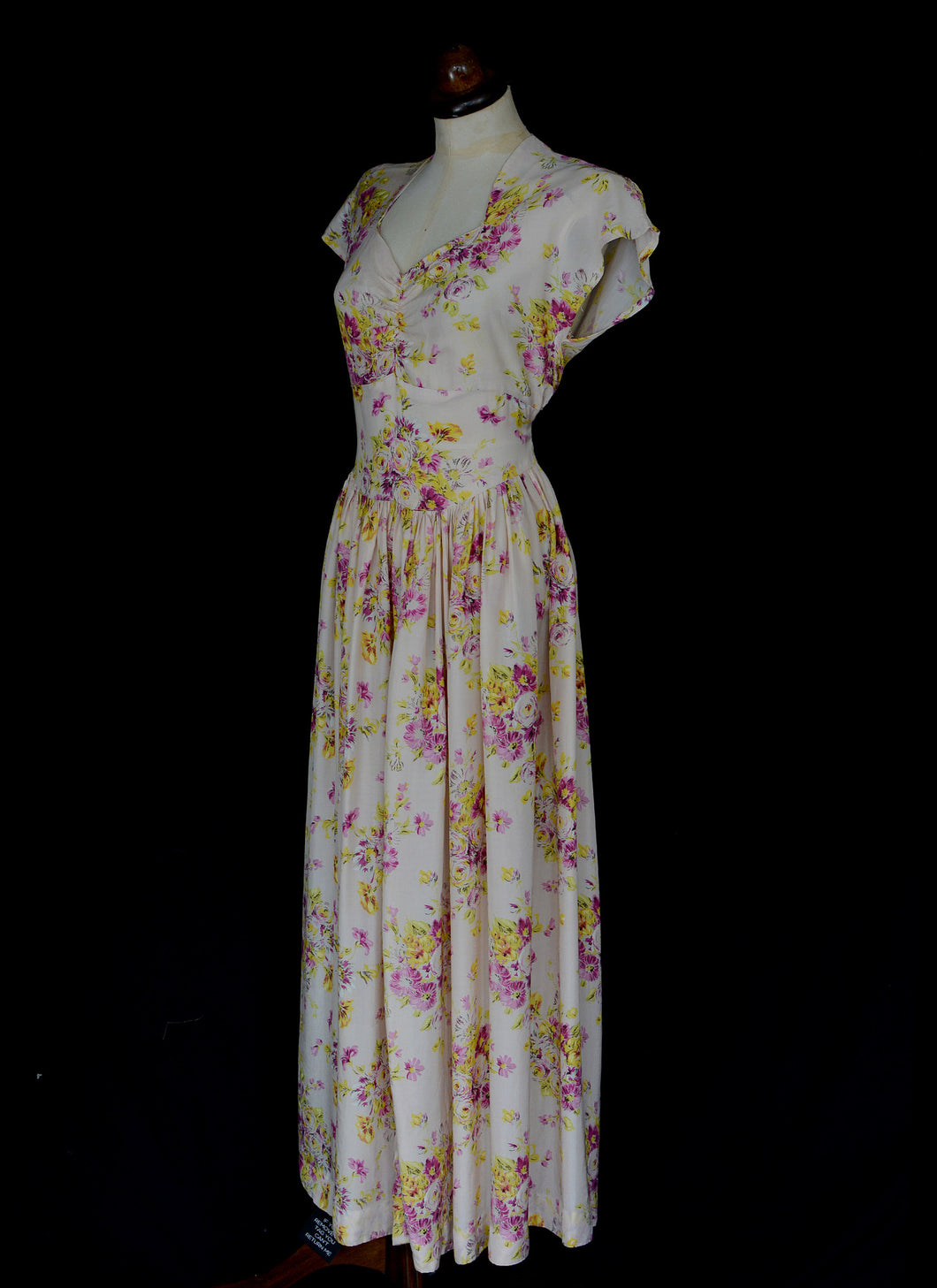 Vintage 1930s Pink Floral Rayon Tea Gown