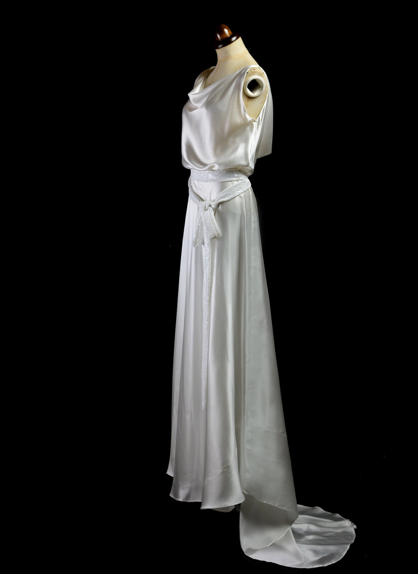 1930 - Bespoke Silk Satin Bias Cut Wedding Dress