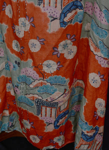 Vintage 1930s Orange Printed Silk Dress