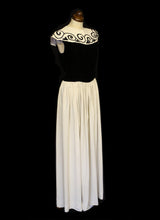 Vintage 1940s Monochrome Velvet Crepe Dress