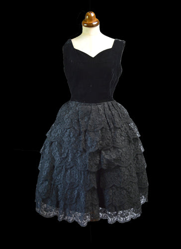 Vintage 1950s Black Velvet Lace Cocktail Dress