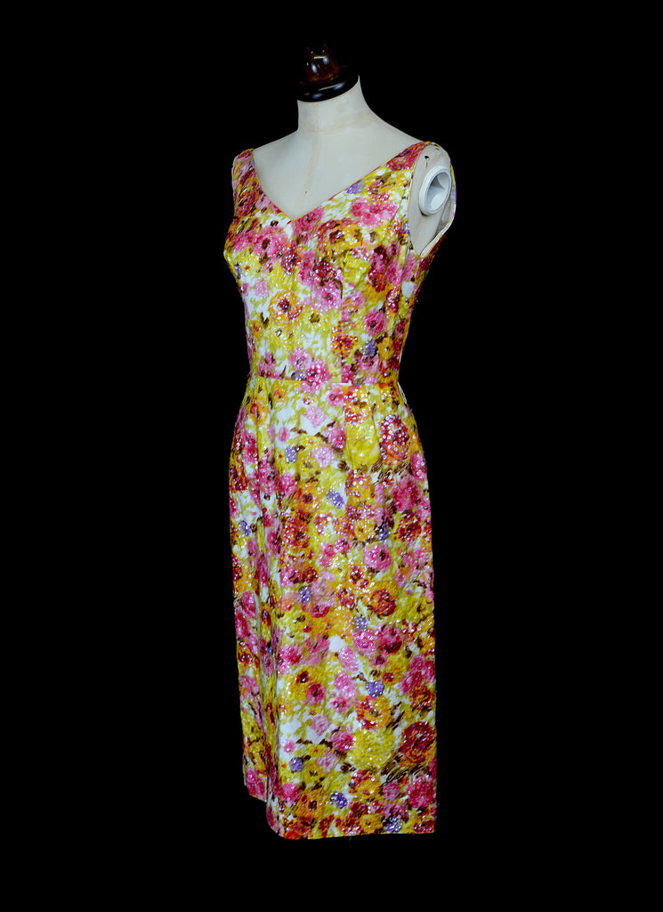 Vintage 1950s Floral Pink Sequin Wiggle Dress