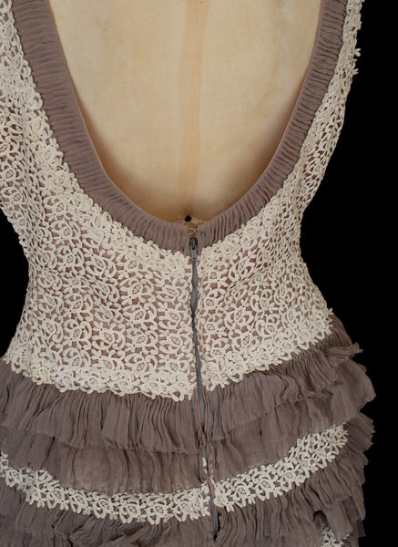 Vintage 1950s Lace Chiffon Flapper Dress