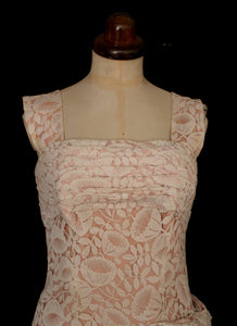 Vintage 1950s Pink Lace Cocktail Dress