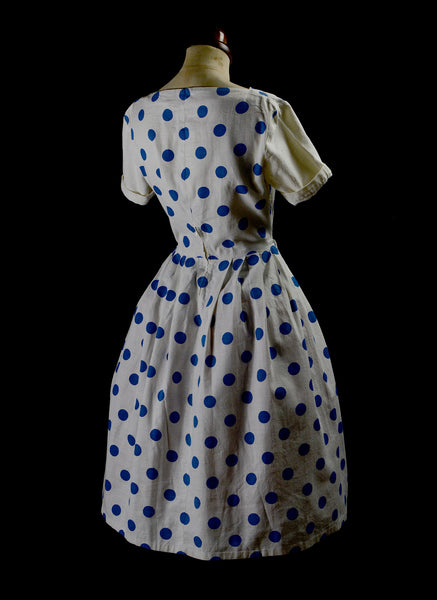 Vintage 1950s Blue Polkadot Dress