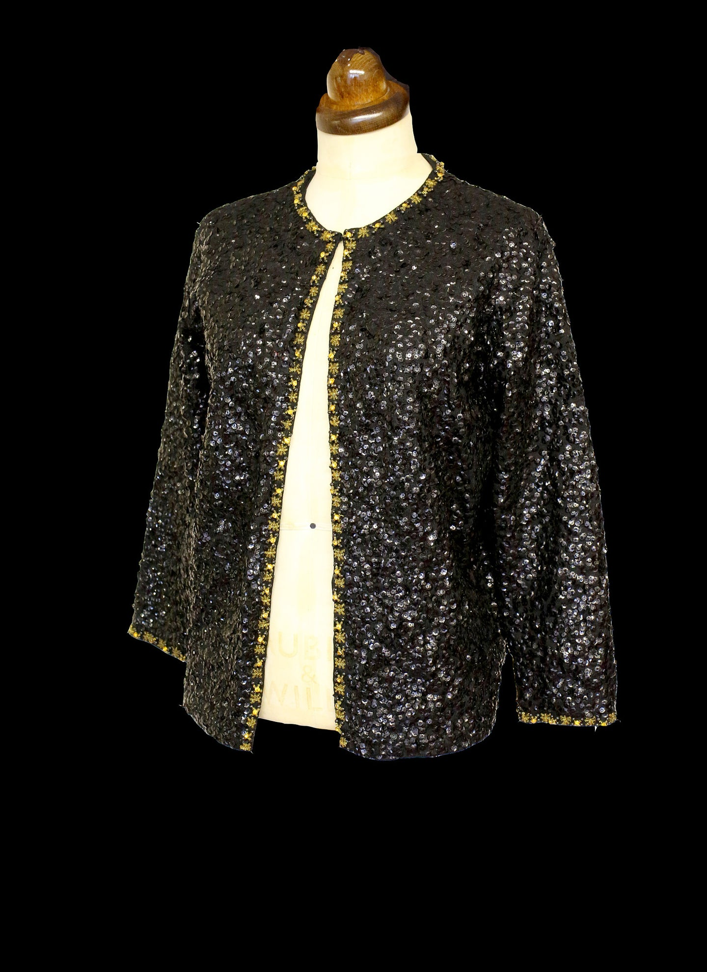 Vintage 1950s Black Gold Sequin Cardigan