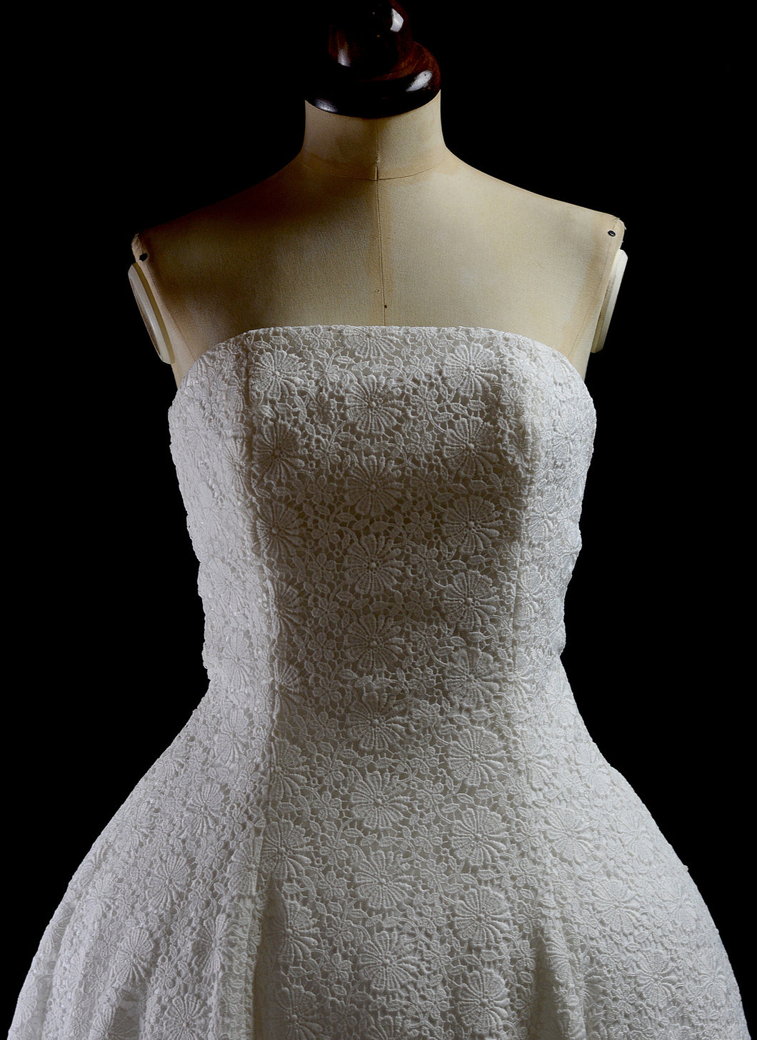 1950 - Strapless Ivory Guipure Lace Midi Dress