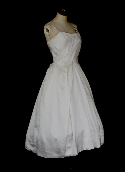 Vintage 1950s Satin Wedding Dress
