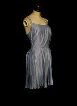 Vintage 1960s Blue Lurex Mini Dress
