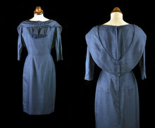 Vintage 1950s Dark Blue Wiggle Dress