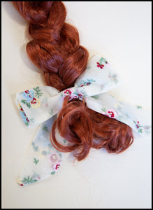 Primrose Embroidered Silk Hair Bow