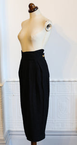 Vintage 1980s High Waisted Black Crepe Pencil Skirt