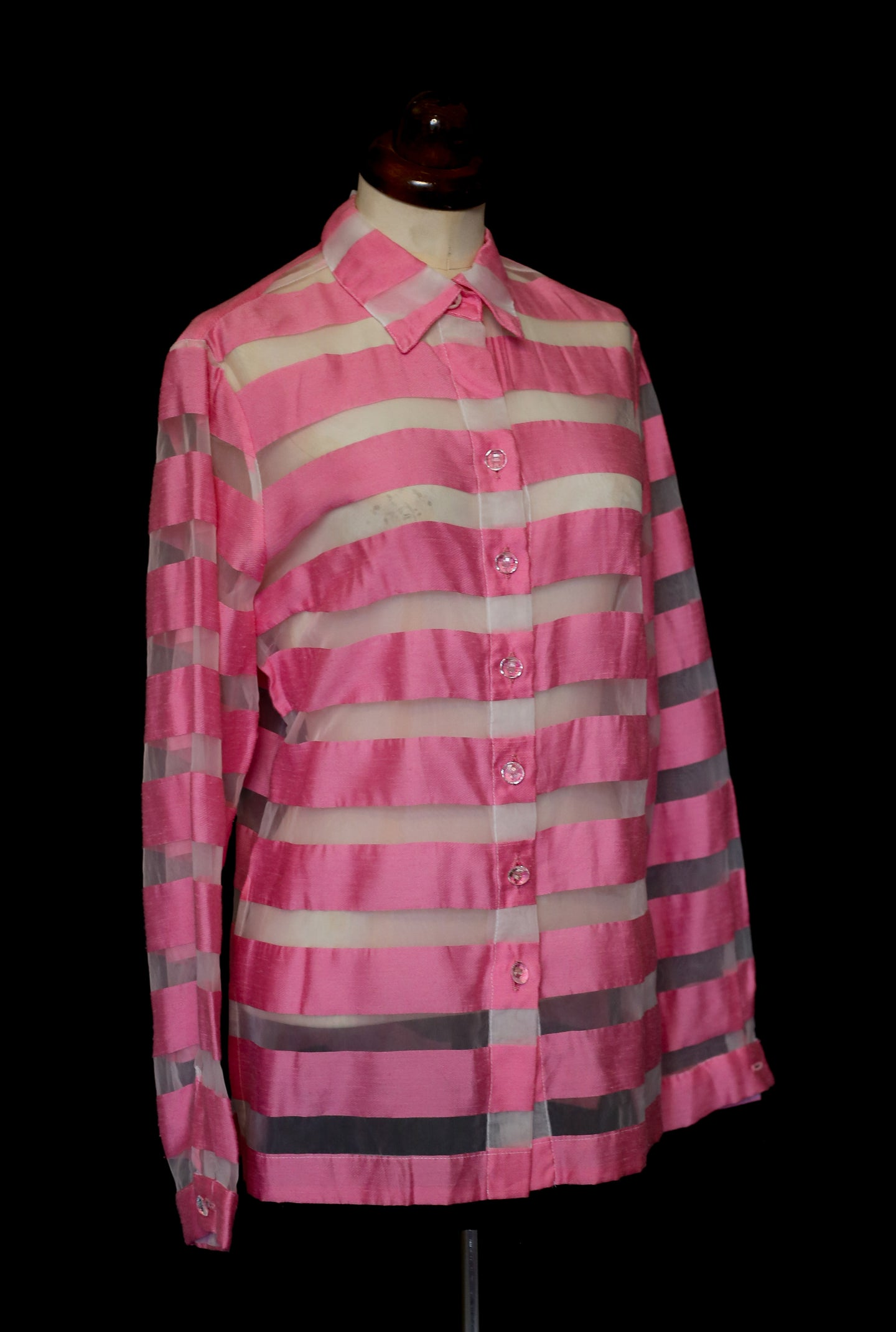 Vintage 1980s Candy Pink White Stripe Silk Blouse
