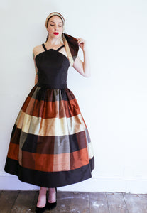Autumn Plaid Silk Dress