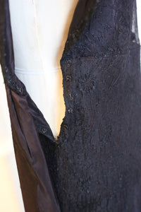 Vintage 1930s Black French Lace Dress