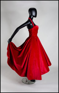 Crimson Red Velvet Ballgown Dress