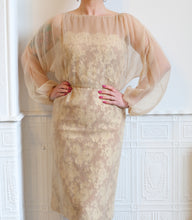 Vintage 1960s Travilla Champagne Lace Wiggle Dress
