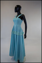 Vintage 1950s Sky Blue Satin Cocktail Dress