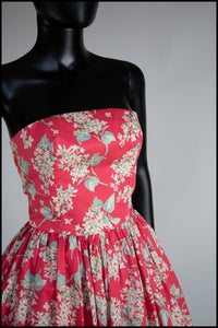 Libby - Liberty Print Coral Red Floral Summer Dress