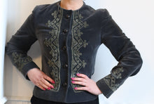 Vintage 1960s Grey Embroidered Fitted Jacket