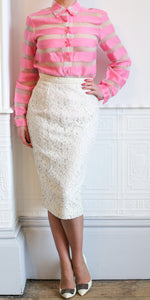 Vintage 1980s Ivory Lace Pencil Skirt