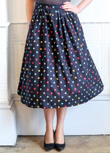 Vintage 1950s Style Navy Rainbow Dot Full Skirt