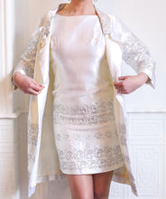 Original Vintage 1960s White Satin Mini Dress and Coat