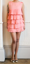 Vintage 1960s Neon Pink Mini Ruffle Dress